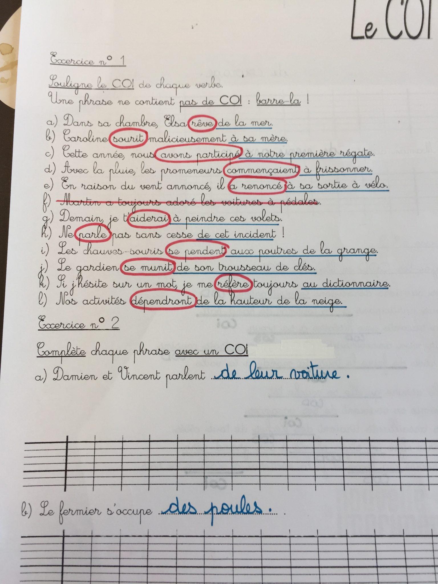 Correction des exercices COD/COI - ECOLE SAINT JOSEPH